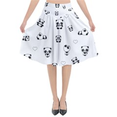 Panda Pattern Flared Midi Skirt
