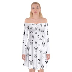 Panda Pattern Off Shoulder Skater Dress