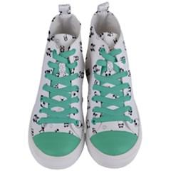Panda Pattern Women s Mid Top Canvas Sneakers