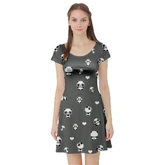 Panda Pattern Short Sleeve Skater Dress