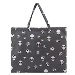 Panda Pattern Zipper Large Tote Bag