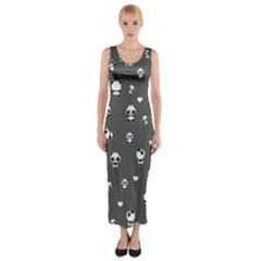 Panda Pattern Fitted Maxi Dress