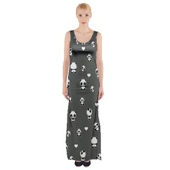 Panda Pattern Maxi Thigh Split Dress