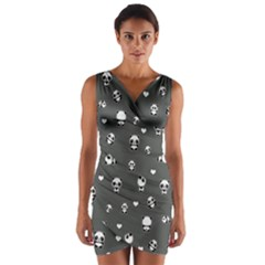 Panda Pattern Wrap Front Bodycon Dress