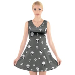 Panda Pattern V Neck Sleeveless Skater Dress