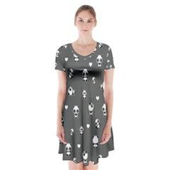 Panda Pattern Short Sleeve V Neck Flare Dress