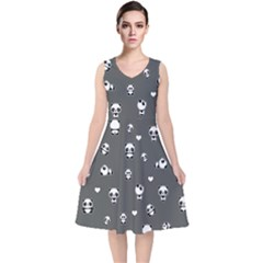 Panda Pattern V Neck Midi Sleeveless Dress