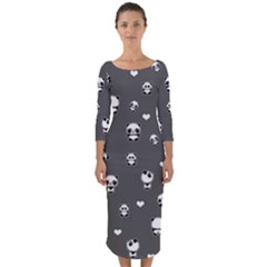 Panda Pattern Quarter Sleeve Midi Bodycon Dress