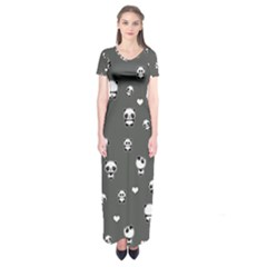 Panda Pattern Short Sleeve Maxi Dress