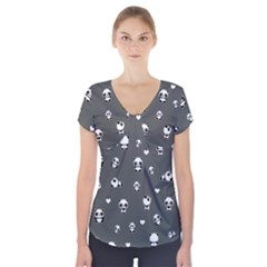 Panda Pattern Short Sleeve Front Detail Top
