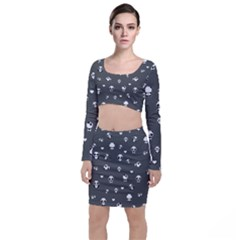 Panda Pattern Long Sleeve Crop Top & Bodycon Skirt Set