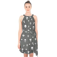 Panda Pattern Halter Collar Waist Tie Chiffon Dress