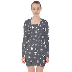 Panda Pattern V Neck Bodycon Long Sleeve Dress