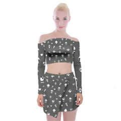 Panda Pattern Off Shoulder Top With Mini Skirt Set