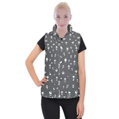 Panda Pattern Women s Button Up Puffer Vest