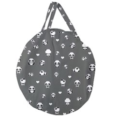 Panda Pattern Giant Round Zipper Tote