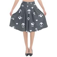 Panda Pattern Flared Midi Skirt