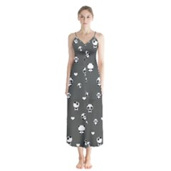 Panda Pattern Button Up Chiffon Maxi Dress