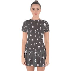 Panda Pattern Drop Hem Mini Chiffon Dress