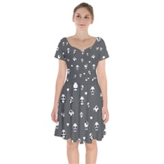 Panda Pattern Short Sleeve Bardot Dress