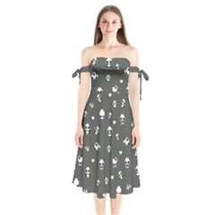 Panda Pattern Shoulder Tie Bardot Midi Dress