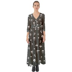 Panda Pattern Button Up Boho Maxi Dress