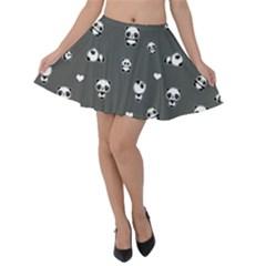 Panda Pattern Velvet Skater Skirt