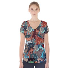 Fun,fantasy And Joy 2 Short Sleeve Front Detail Top