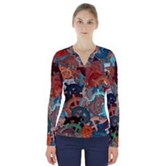 Fun,fantasy And Joy 2 V Neck Long Sleeve Top