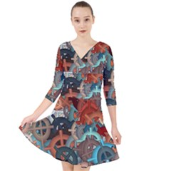 Fun,fantasy And Joy 2 Quarter Sleeve Front Wrap Dress