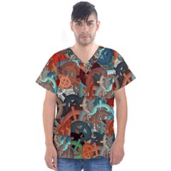 Fun,fantasy And Joy 2 Men s V Neck Scrub Top