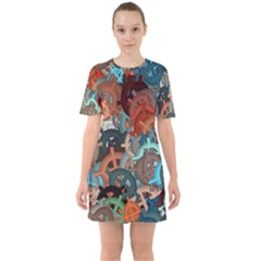 Fun,fantasy And Joy 2 Sixties Short Sleeve Mini Dress