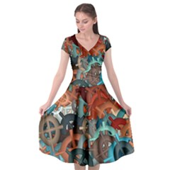 Fun,fantasy And Joy 2 Cap Sleeve Wrap Front Dress