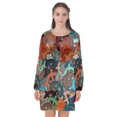 Fun,fantasy And Joy 2 Long Sleeve Chiffon Shift Dress