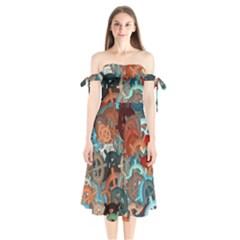 Fun,fantasy And Joy 2 Shoulder Tie Bardot Midi Dress