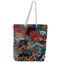 Fun,fantasy And Joy 2 Full Print Rope Handle Tote (large)