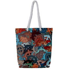 Fun,fantasy And Joy 2 Full Print Rope Handle Tote (small)