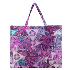 Fun,fantasy And Joy 7 Zipper Large Tote Bag