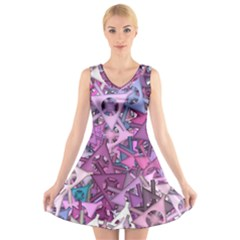 Fun,fantasy And Joy 7 V Neck Sleeveless Skater Dress