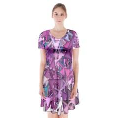 Fun,fantasy And Joy 7 Short Sleeve V Neck Flare Dress