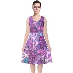 Fun,fantasy And Joy 7 V Neck Midi Sleeveless Dress