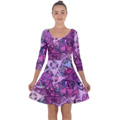 Fun,fantasy And Joy 7 Quarter Sleeve Skater Dress