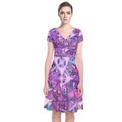 Fun,fantasy And Joy 7 Short Sleeve Front Wrap Dress