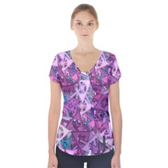 Fun,fantasy And Joy 7 Short Sleeve Front Detail Top