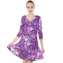 Fun,fantasy And Joy 7 Quarter Sleeve Front Wrap Dress