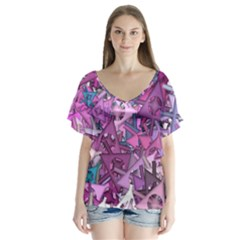 Fun,fantasy And Joy 7 V Neck Flutter Sleeve Top
