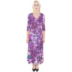 Fun,fantasy And Joy 7 Quarter Sleeve Wrap Maxi Dress