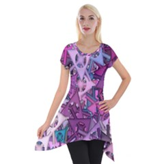Fun,fantasy And Joy 7 Short Sleeve Side Drop Tunic