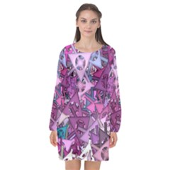 Fun,fantasy And Joy 7 Long Sleeve Chiffon Shift Dress