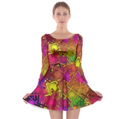 Fun,fantasy And Joy 5 Long Sleeve Skater Dress